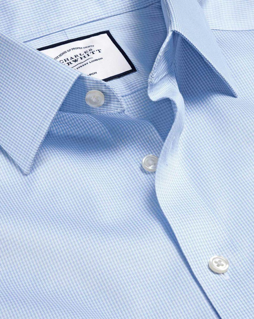 Bügelfreies Hemd mit Hahnentrittmuster - Himmelblau