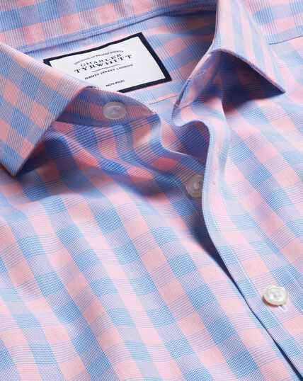 Cutaway Collar Non-Iron Tyrwhitt Cool Poplin Check Shirt - Blue & Orange