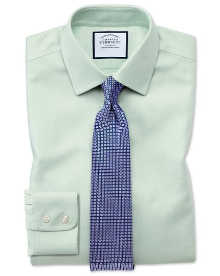 Classic fit non-iron step weave green shirt