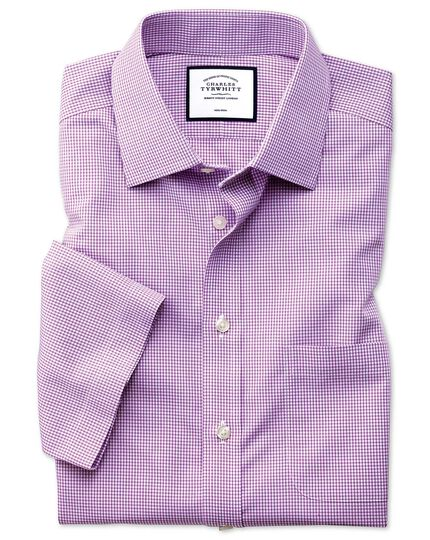 Classic fit non-iron pink check natural cool short sleeve shirt