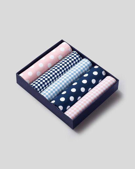 Pink, white and sky handkerchief box set