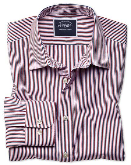 Vorgewaschenes, weiches Classic Fit Hemd mit Streifenmuster in Blau und Rot