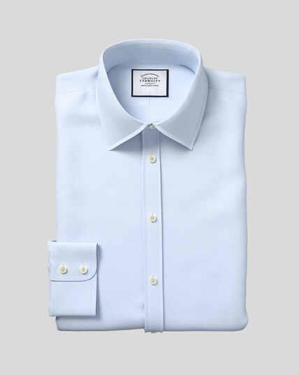 Classic Collar Egyptian Cotton Lattice Weave Shirt - Sky