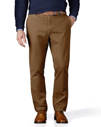 Camel extra slim fit flat front chinos
