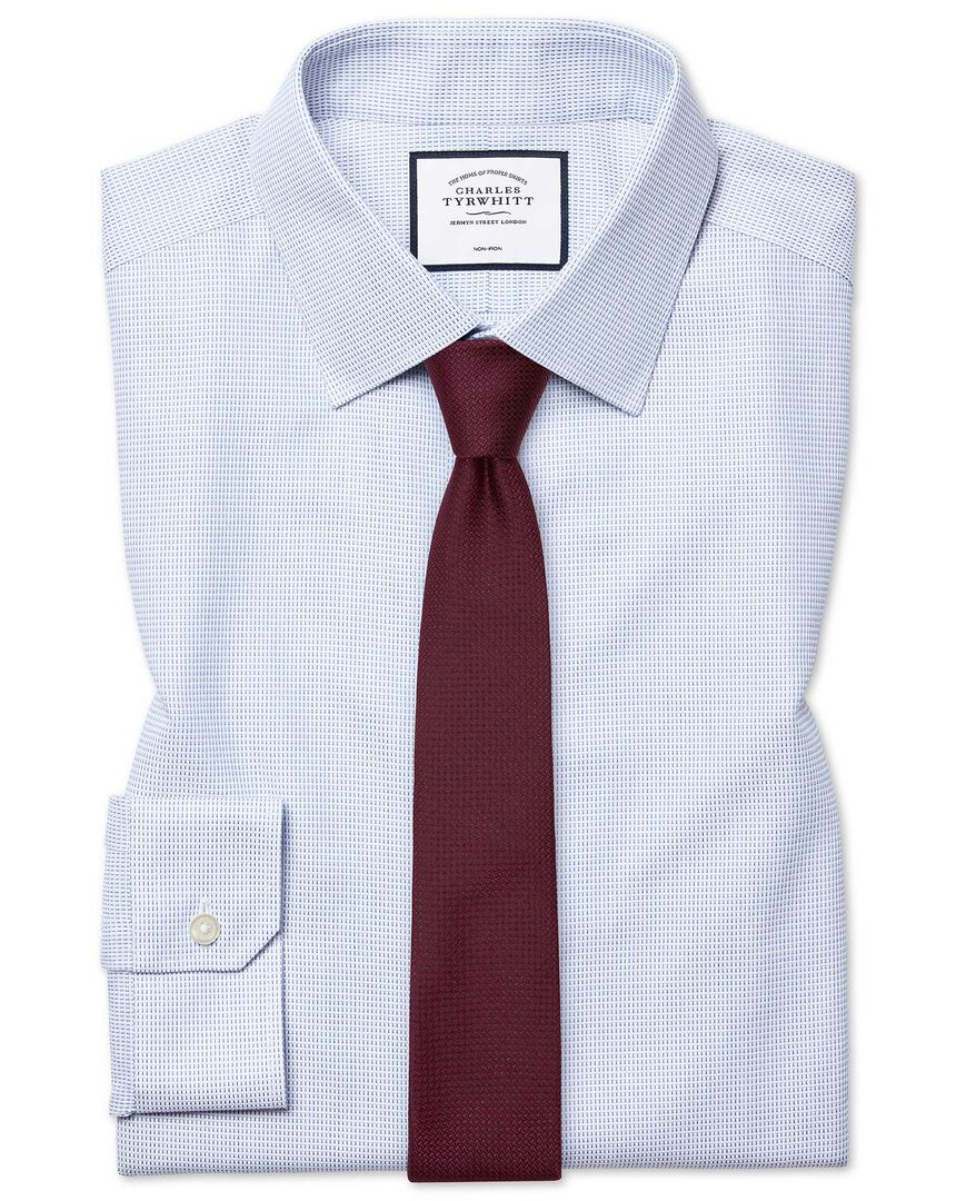 Super slim fit non-iron dash weave blue shirt