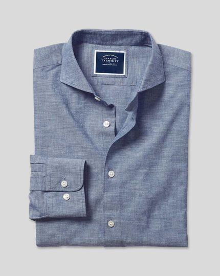 Cutaway Collar Chambray Shirt - Mid Blue