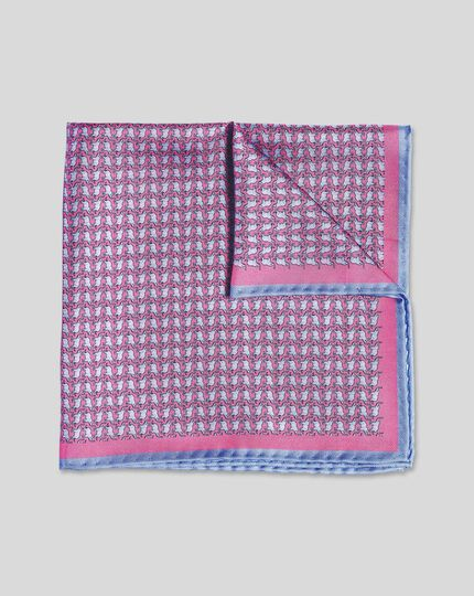 Elephant Print Pocket Square - Pink