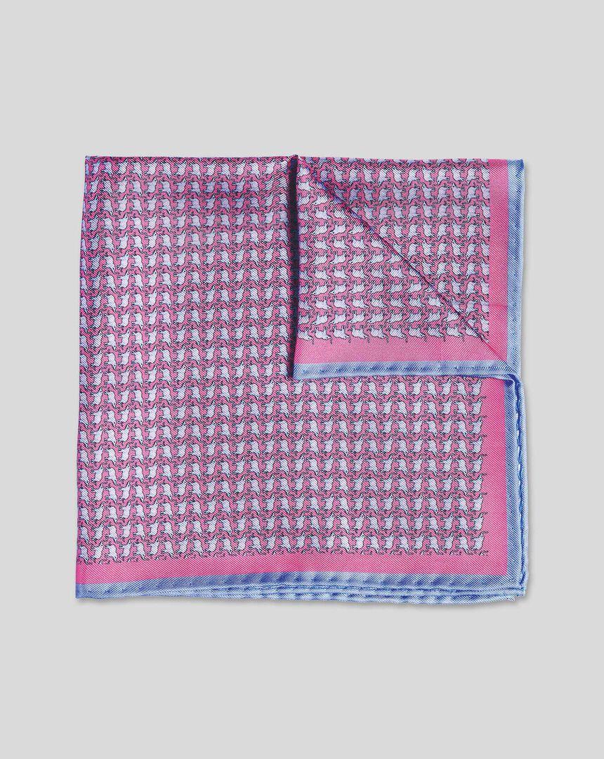 Elephant Print Pocket Square - Pink