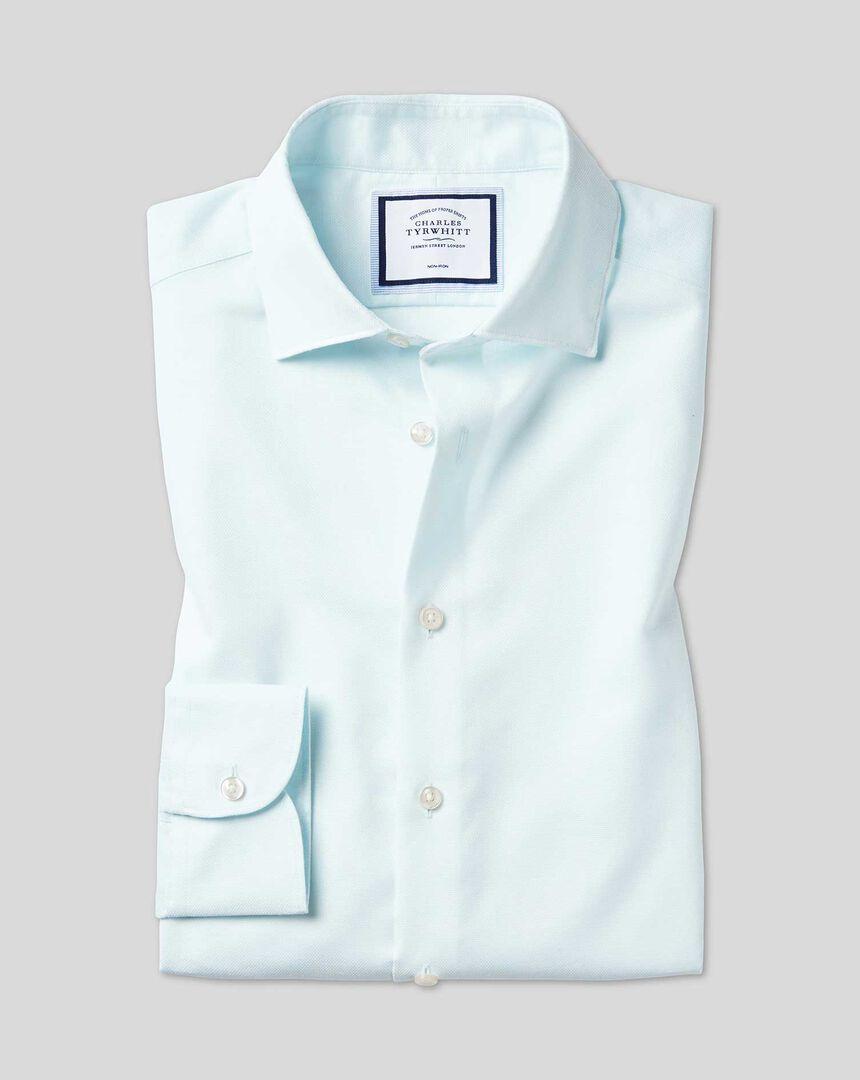 Business Casual Collar Non-Iron Cotton Linen Oxford Shirt - Green