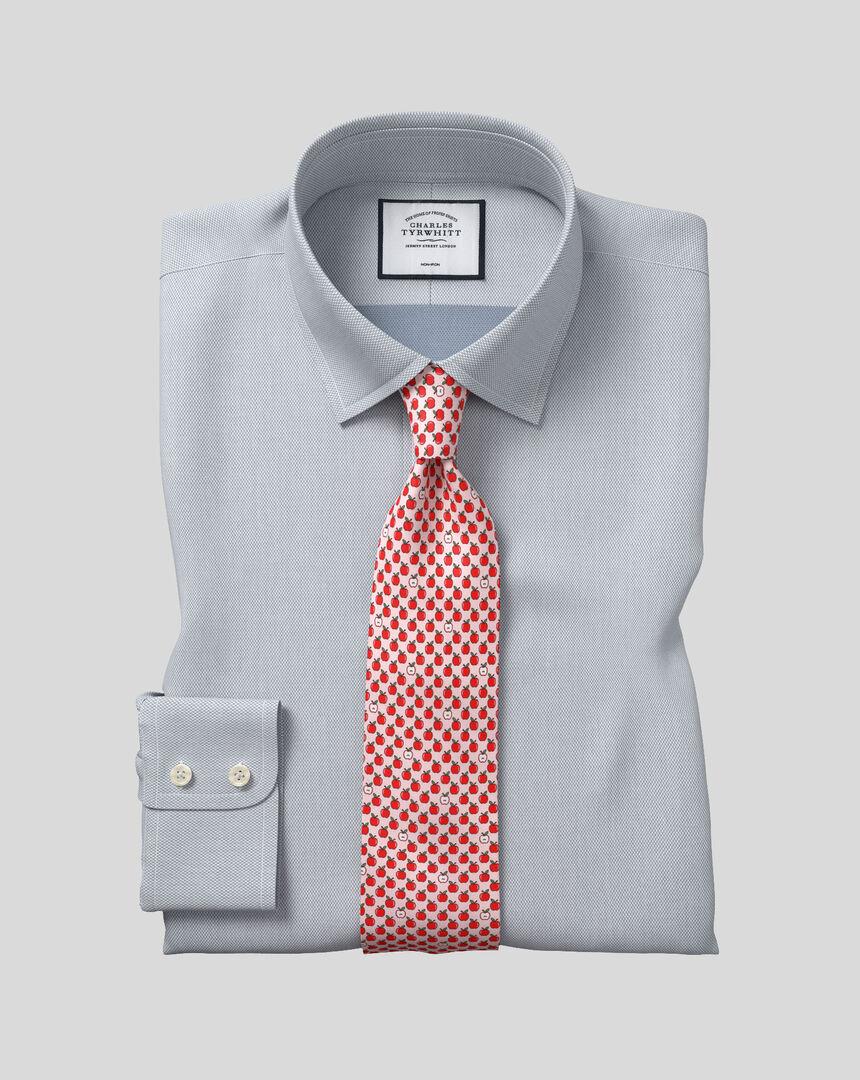 Bügelfreies Hemd mit Kent Kragen und Micro-Diamond-Muster - Grau
