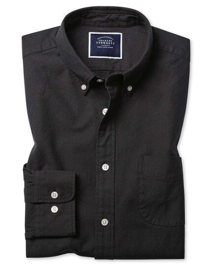 Vorgewaschenes Slim Fit Oxfordhemd mit Button-down Kragen in Anthrazit
