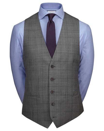 Light grey adjustable fit twist business suit waistcoat