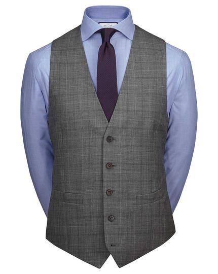 Gilet de costume business en laine 3 brins gris clair coupe ajustable