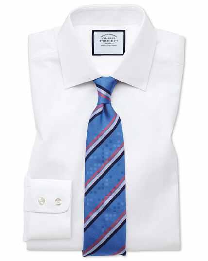 Slim fit white fine herringbone shirt