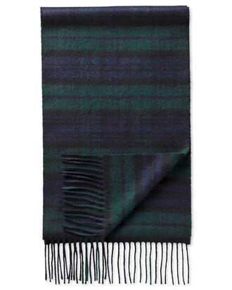 Black watch tartan cashmere scarf