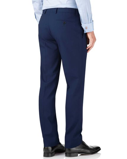 Royal blue slim fit crepe business suit trousers