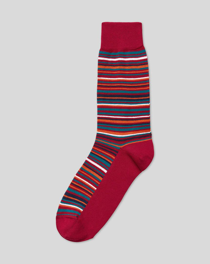 Multi Stripe Socks - Red