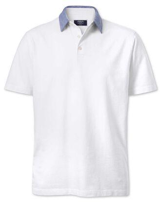 Polo blanc en coton et lin