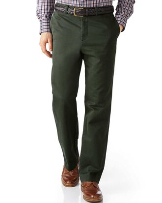 Dark green classic fit flat front washed chinos