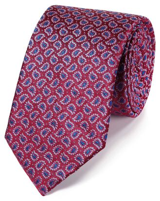 Red silk paisley classic tie