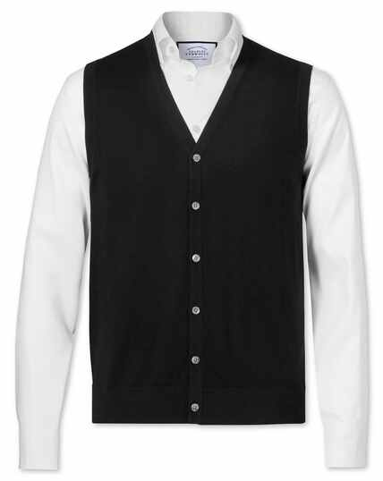 Black merino wool waistcoat