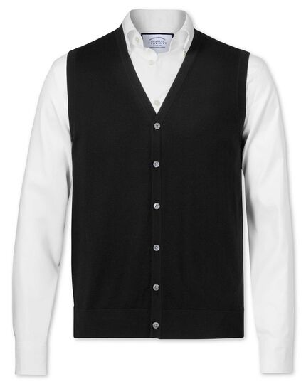 Black merino wool vest