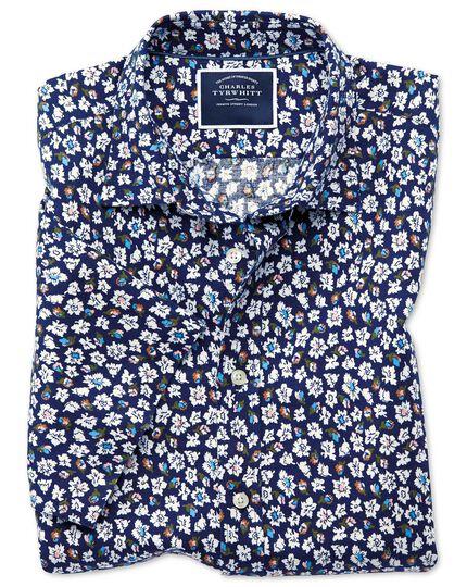 Classic fit floral print navy short sleeve linen cotton shirt