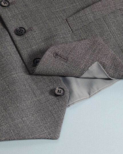 Gilet de costume business à carreaux gris jaspé coupe ajustable