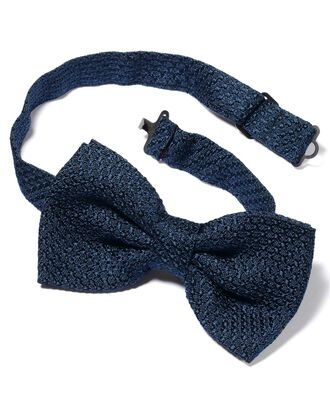 Navy silk plain grenadine Italian luxury ready-tied bow tie