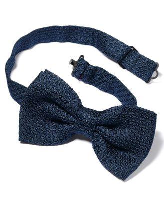 Navy silk plain grenadine Italian luxury ready-tied bow tie