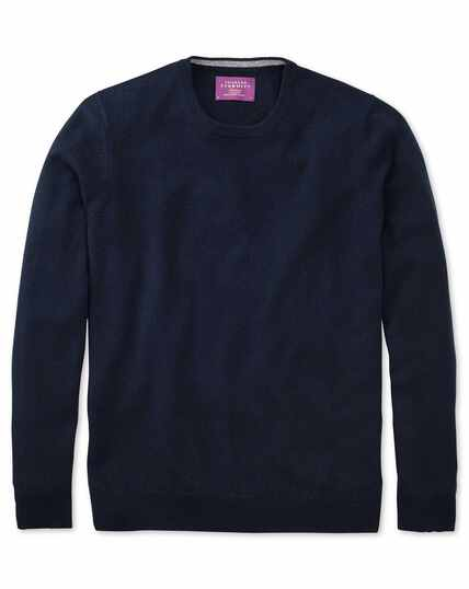 Navy cashmere crew neck jumper