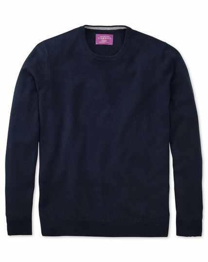 Navy cashmere crew neck sweater