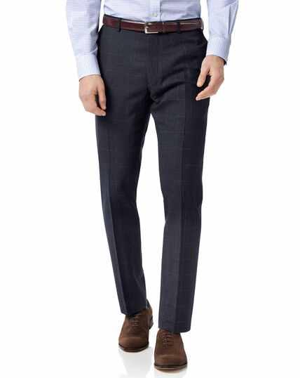 Blue slim fit jaspe check business suit pants