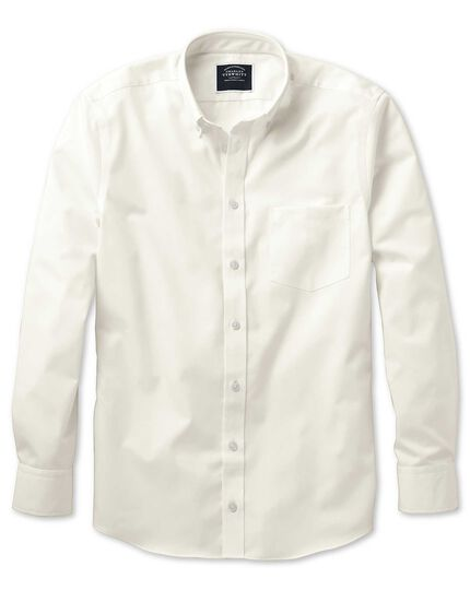Classic fit non-iron button down collar off-white twill shirt