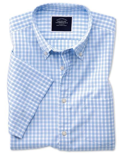 Slim fit sky short sleeve gingham soft washed non-iron Tyrwhitt Cool shirt