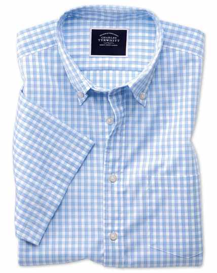 Slim fit sky short sleeve gingham soft washed non-iron Tyrwhitt Cool shirt