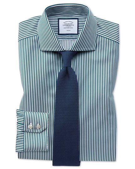 Chemise bleu canard à rayures et col cutaway en twill slim fit sans repassage