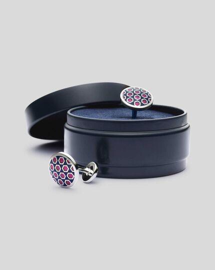 Round Enamel Geometric Cufflinks - Navy & Pink