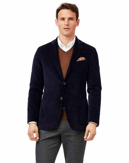 Slim fit blue Italian corduroy jacket