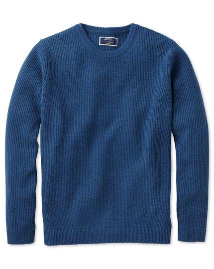 Pull bleu en laine d'agneau côtelée à col rond