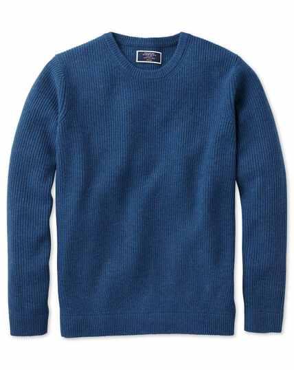 Blue lambswool rib crew neck jumper