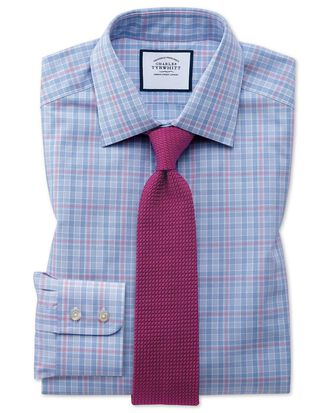 Slim Fit Hemd mit Prince-of-Wales-Karos in Blau und Rosa