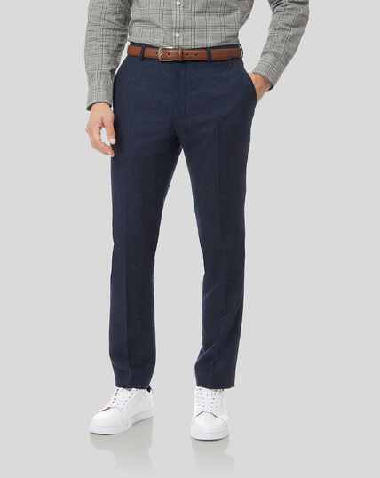Textured Wool Blend Suit Pants - Navy