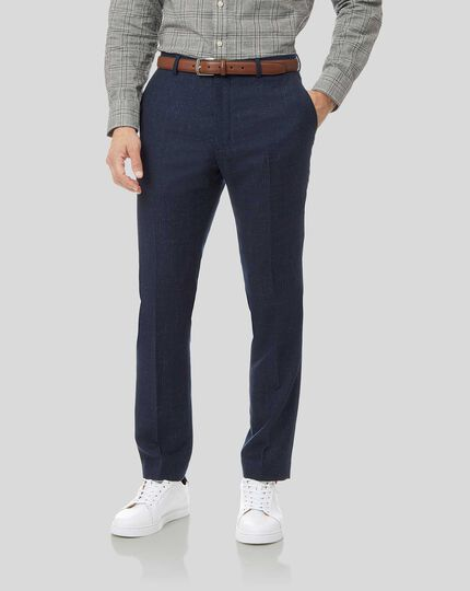 Textured Wool Blend Suit Trousers - Navy