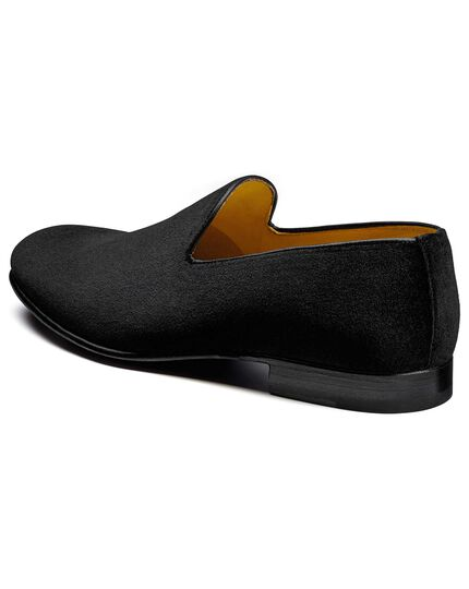 Black velvet slip on shoes