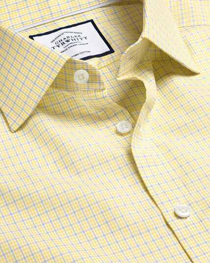 Semi-Spread Collar Egyptian Cotton Poplin Multi Check Shirt - Sky & Yellow