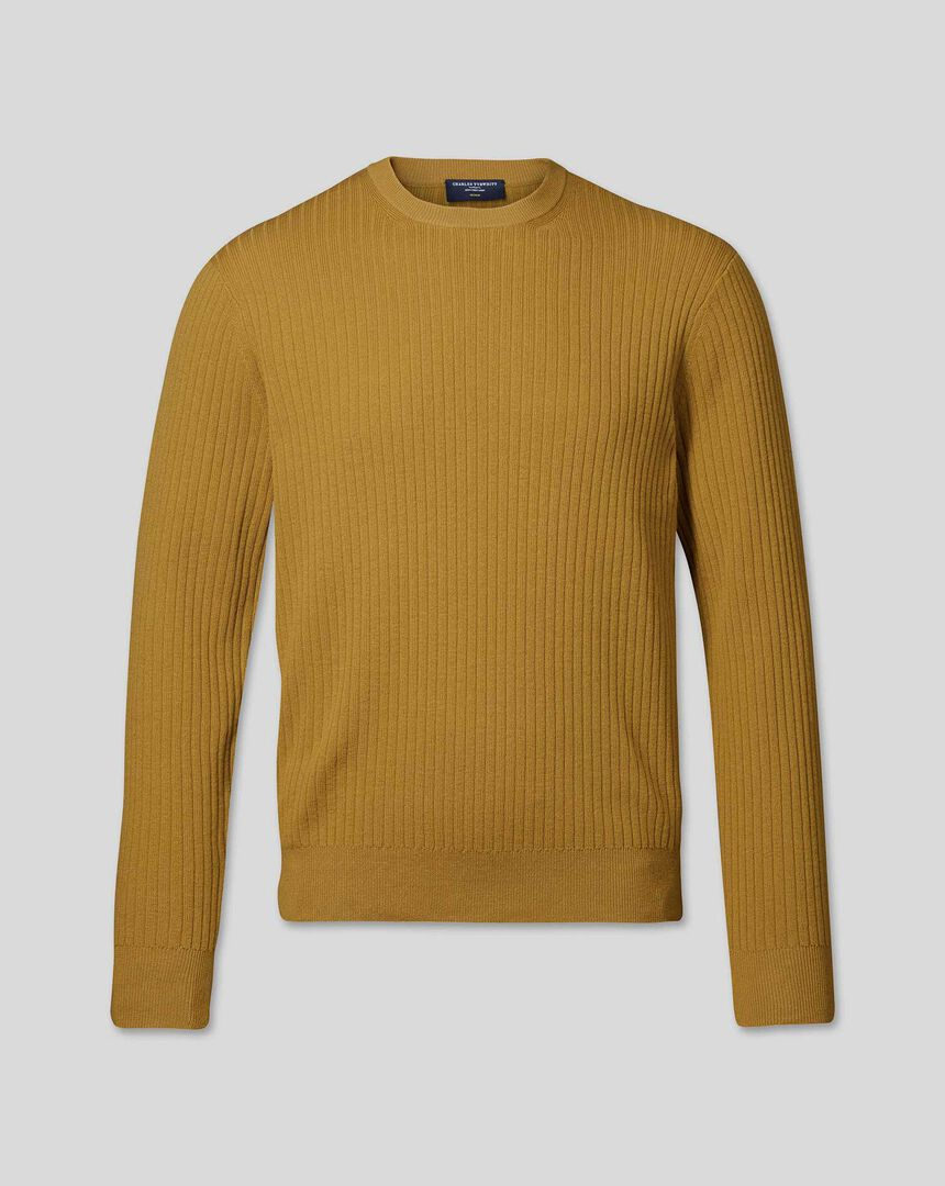 Wool Cotton Rib Sweater - Dark Yellow