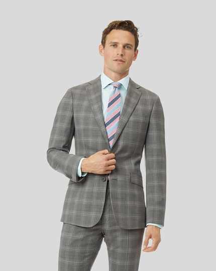 Check Suit Jacket - Light Grey
