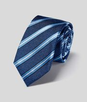 Silk Stripe Slim Tie - Blue & Sky