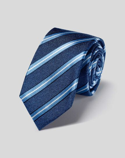 Slim Silk Stripe Tie - Blue & Sky
